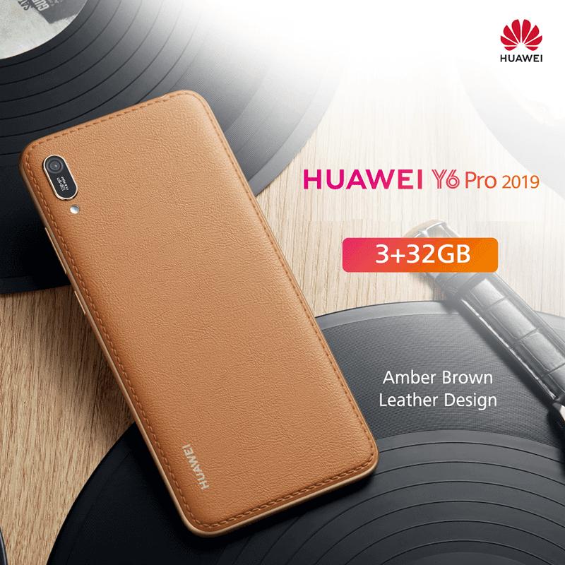 Huawei Y6 Pro 2019 Em Uma Embalagem de Couro Marrom âmbar Lindamente Trabalhada